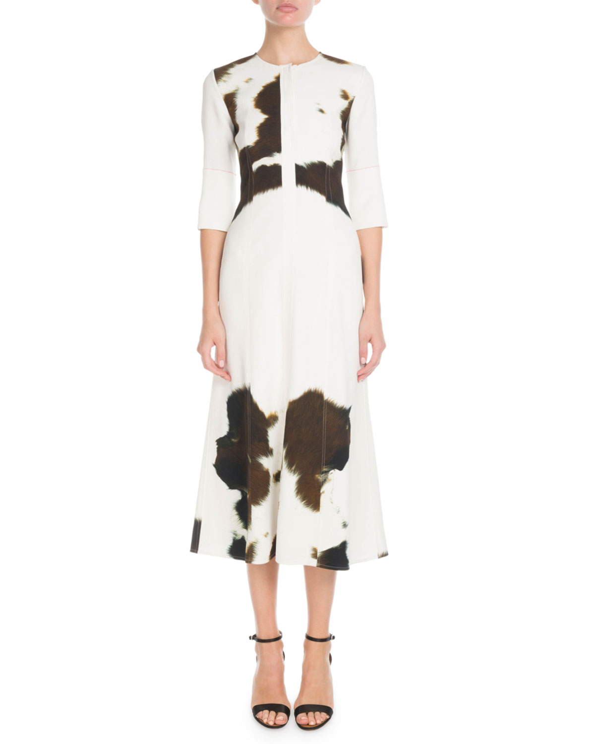 Elbow-Sleeve Round-Neck Fit-And-Flare Cow-Print Midi Dress in White
