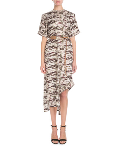 Short-Sleeve Camo-Print Shift Midi Dress w/ Leather Belt