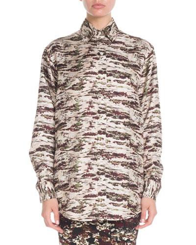 Camo-Print Button-Down Long-Sleeve Oversized Silk Shirt