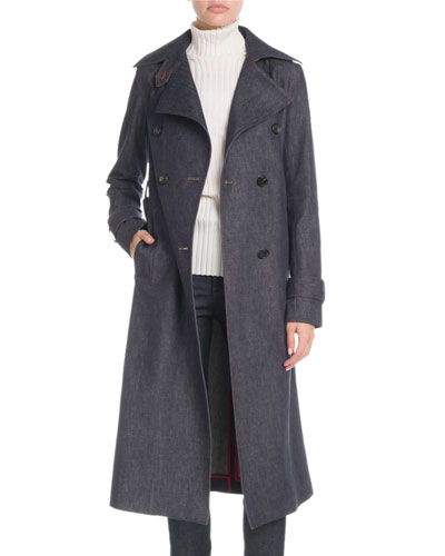 8460114968b6 Quick Look. Victoria Beckham · Denim Double-Breasted Trench Coat