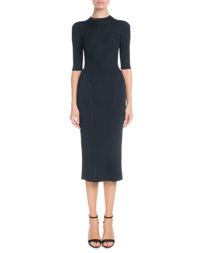 Elbow-Sleeve Round-Neck Seamed Midi Dress