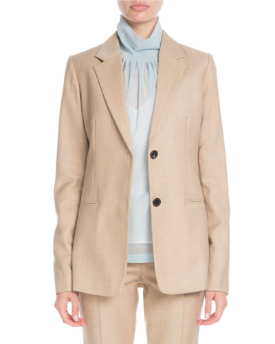Notched-Lapel Two-Button Tailored Wool Jacket