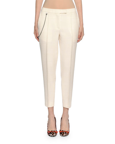 Pleated Ankle Pants with Pocket Chain