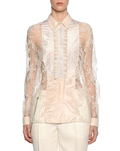 f0f43bff17773 Quick Look. Bottega Veneta · Bib-Neck Floral Lace Silk Blouse