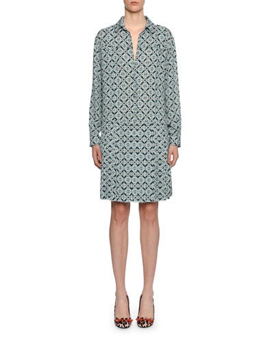 Quick Look. Bottega Veneta · Geometric-Print Silk Drop-Waist Dress 80f0384cc