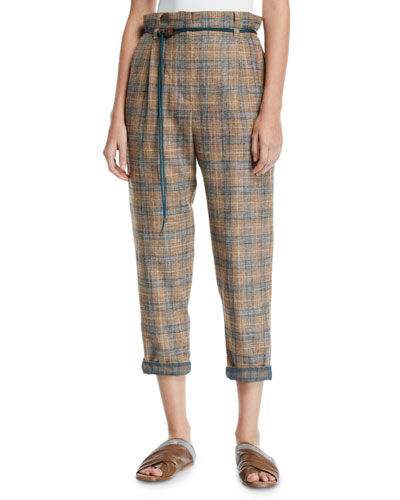 Plaid Linen Rope-Waist Crop Pants