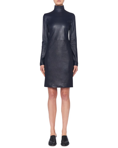Beattia Leather Turtleneck Long-Sleeve Body-Con Dress