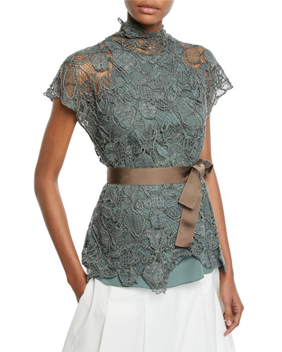 Floral-Embroidered Lace Mock-Neck Blouse