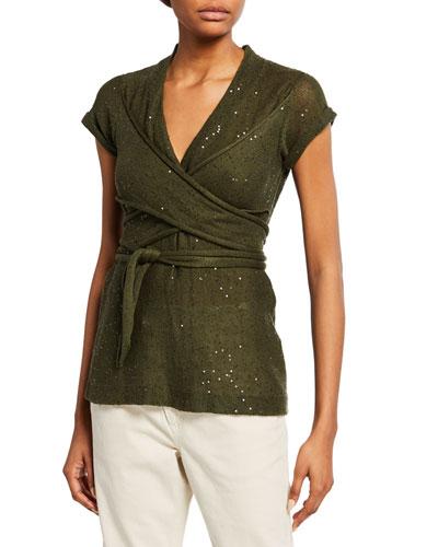 f72c0dee1870a4 Quick Look. Brunello Cucinelli · Sequined Linen-Silk Short-Sleeve Top