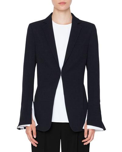 Hook-Front Wool Tricot Blazer Jacket