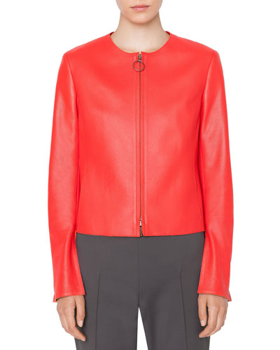 Round-Neck Zip-Front Perforated Napa Leather Jacket