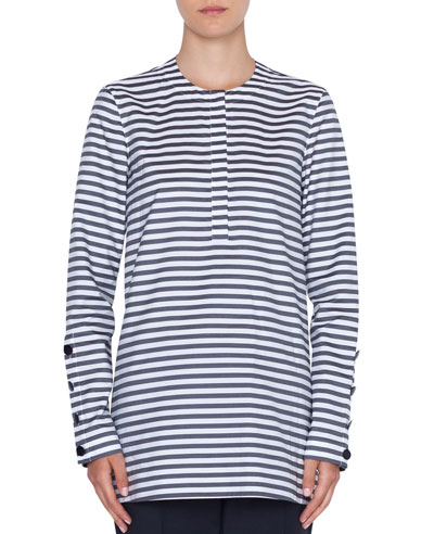 7f9fbe4ea87bb4 Quick Look. Akris punto · Striped Crewneck Button-Sleeve Top