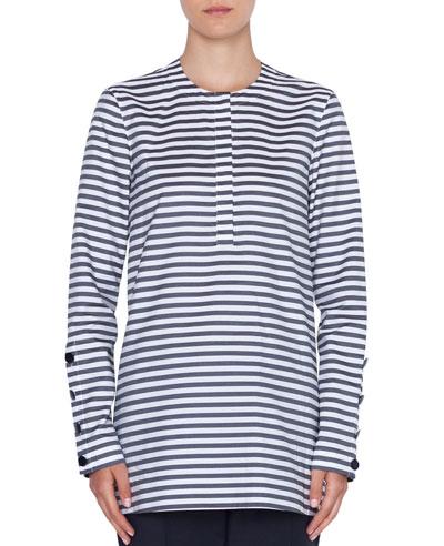 Striped Crewneck Button-Sleeve Top