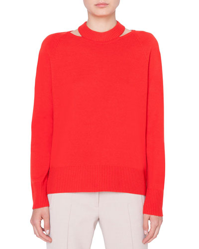 Wool-Cashmere Collarbone Cutout Sweater