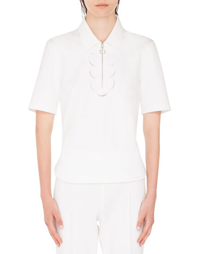 Memphis-Scalloped Collared 1/2-Sleeve Polo