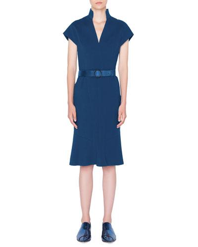 Belted V-Neck Shift Dress