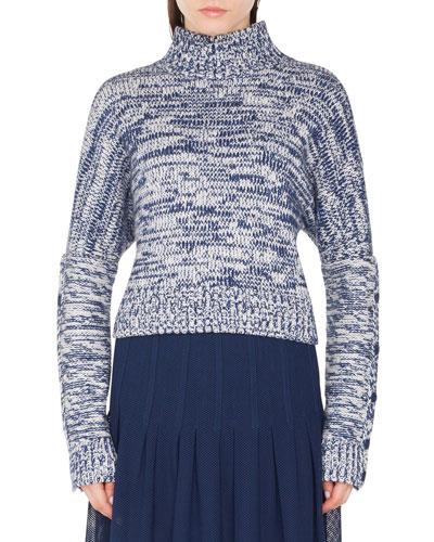 Turtleneck Chunky-Melange Knit Sweater