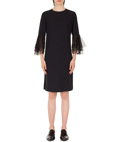 Tiered-Tulle Sleeve Sheath Dress