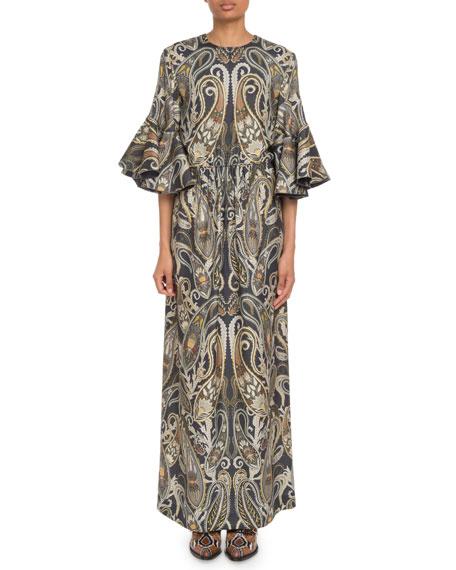 Chloe Flare-Sleeve Paisley Maxi Dress