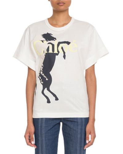 Short-Sleeve Horse-Logo Graphic T-Shirt
