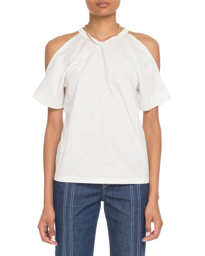 Cold-Shoulder Chain-Neck Cotton T-Shirt