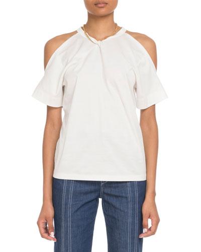Cold-Shoulder Chain-Neck Cotton T-Shirt