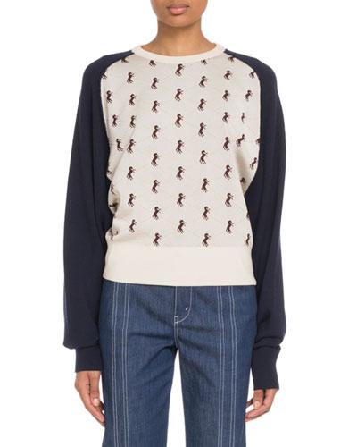 Raglan Horse-Jacquard Pullover Sweater