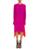 Chloe Long-Sleeve Colorblock Crepe de Chine Dress