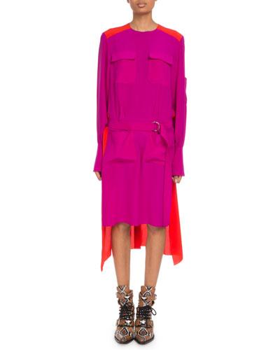 Long-Sleeve Colorblock Crepe de Chine Dress