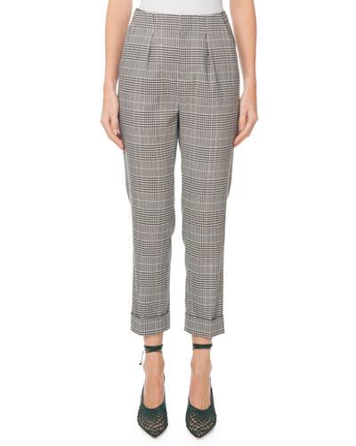Horley Slim-Leg Checkered Crop Pants