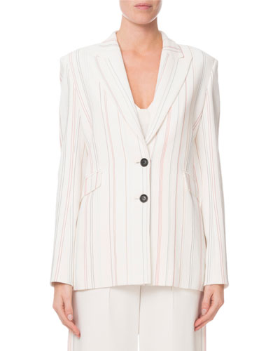 Neyman Topstitch-Embroidered Striped Blazer