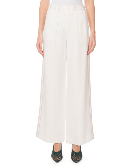 """Roland Mouret """"Groves"""" Topstitch-Embroidered Striped Pants"""