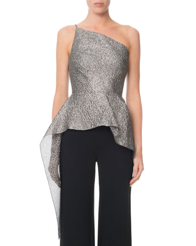 Caplan One-Shoulder Shimmer Peplum Top