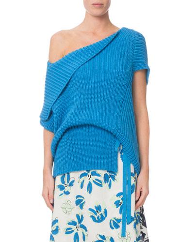 Moran Draped One-Shoulder Ribbed Sweater