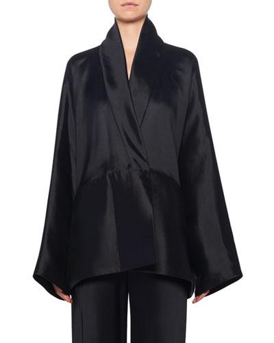 Pernia Wrapped Silk Jacket,  Black