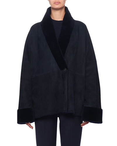 Pernia Shearling-Trim Wrapped Jacket, Navy