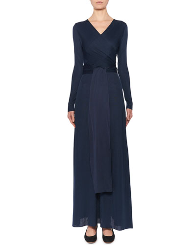 Pionah Long-Sleeve Wrapped Silk Dress