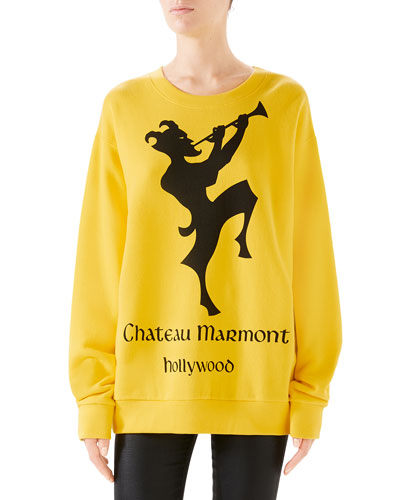 Oversized Printed Heavy Felt Sweatshirt
