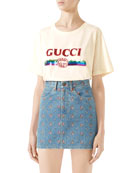 Gucci Embroidered High-Waist Denim Mini Skirt