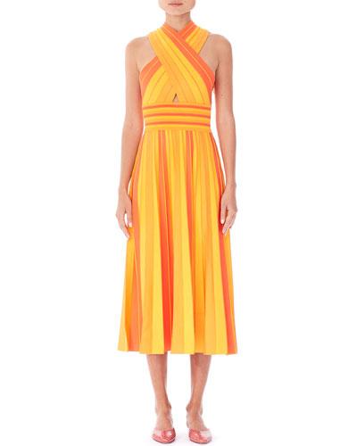 Striped Knit Halter Midi Dress