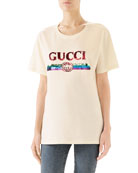 Gucci Crewneck Short-Sleeve Cotton T-Shirt with Sequined Logo