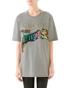 Gucci Oversize Tiger Graphic Cotton T-shirt