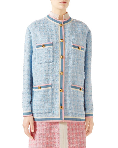 Stripe-Trim Button-Front Tweed Jacket