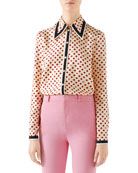 Gucci Heart-Clover Silk Twill Shirt
