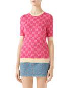 Gucci Short-Sleeve Fine Cotton Crewneck Top