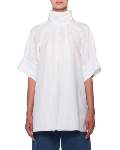 Abel Stand-Collar Short-Sleeve Poplin Blouse