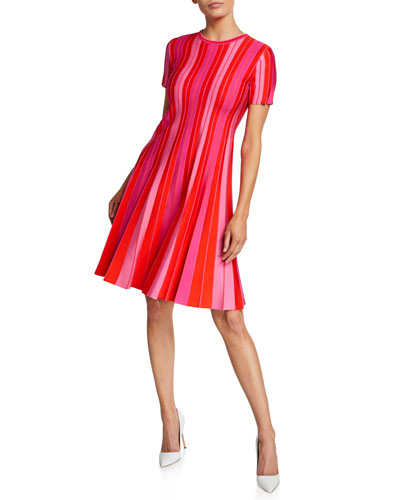 855937b47a Quick Look. Carolina Herrera · Short-Sleeve Striped Knit Pleated Dress