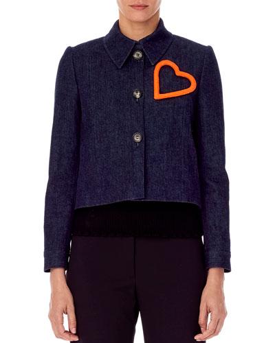 Heart-Embellished Cropped Denim Jacket