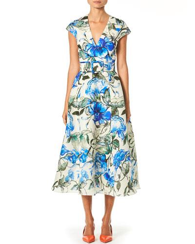 Hibiscus Print A-Line Faux Wrap Dress