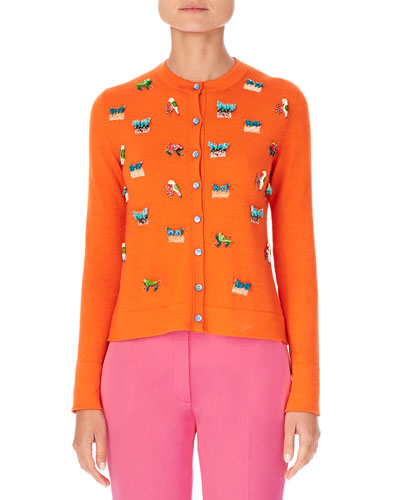 Animal-Embroidered Cashmere-Silk Cardigan